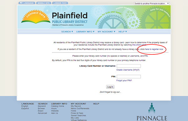 Library Card Application  Plainfield Public Library