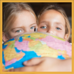 Two kids with globe