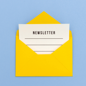Newsletter page in yellow envelope